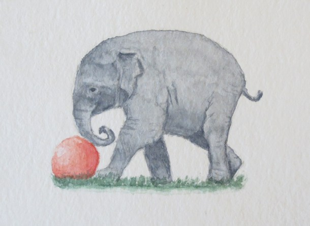 Elephant art addison elephant with little red ball (3)