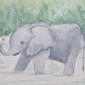 Grey Baby Elephant in Water by Addison : ACEO Original Watercolor Elephant Painting