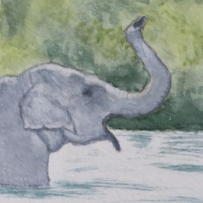Profile of Happy Elephant in Water by Addison : ACEO Original Watercolor Elephant Painting