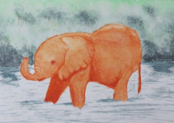 Elephant Art by Addison orange ele in water (3)