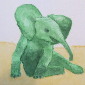 Green Little Elephant Chilling, Out on Savanna, by Addison : ACEO Original Watercolor Elephant Painting