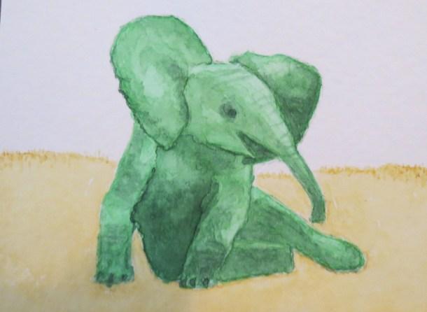 Elephant art by addison green baby elephant sitting down chilling on savanna (3)