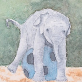 Baby Elephant Hugging Blue Soccer Ball by Addison : ACEO Original Watercolor Elephant Painting