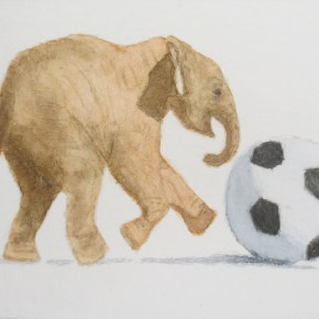 Elephant Playing With Soccer Ball by Addison : ACEO Original Watercolor Elephant Painting