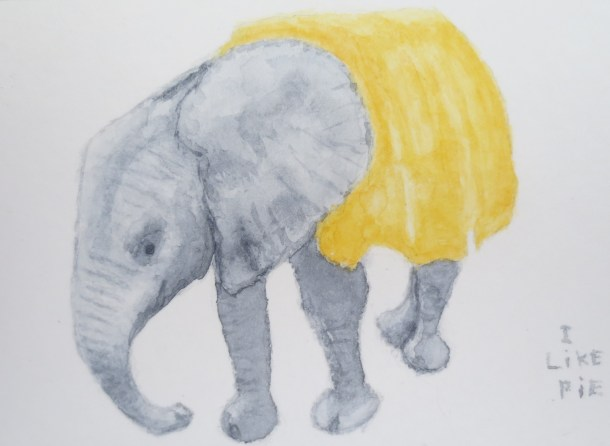 Elephant art watercolor by addison baby with yellow blanket i like pie retakes (2)