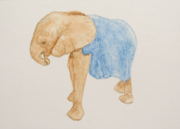 elephant art Baby Elephant Her Trunk Curled to Her MouthWearing Blue Blanket by Addison
