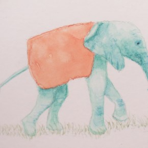Light Green Baby Elephant Wearing Orange Blanket, Wandering Away by Addison :  ACEO Original Watercolor Elephant Painting