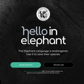 "It's Easy to Speak Elephant, Using Authentic Elephant Sounds & Gestures, With the ""Hello in Elephant"" Translator & The Best Part is You Are Helping to ""Raise Awareness For African Elephants"" in the Process"