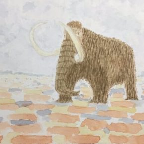 King Richard the Woolly Mammoth by Addison : Original Watercolor Elephant Painting