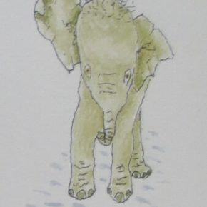 Startled Baby Elephant, Original Watercolor & Ink Painting by Addison : ACEO Original Watercolor Elephant Painting