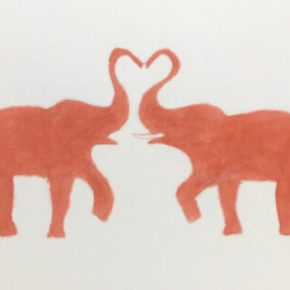 Elephant Love, Original Watercolor Painting by Addison : Original Watercolor Elephant Painting