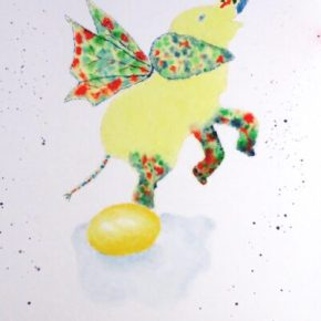 Fairy Elephant Dancing on Fried Egg, Surrealism by Addison :  Original Watercolor Elephant Painting