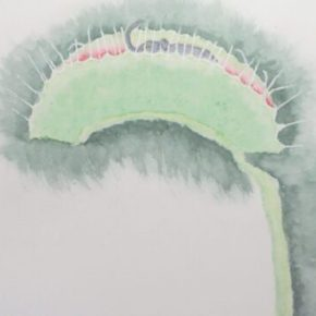Venus Fly Traps Elephant, Surrealism by Addison :  Original Watercolor Elephant Painting