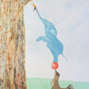 """Teamwork,"" Surrealism by Addison: Original Watercolor Elephant Painting"
