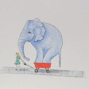 Show & Tell Day by Addison: Original Watercolor Elephant Painting