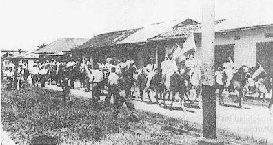 Manifestación de apoyo en la campaña electoral de Otilio Ulate Blanco, Guadalupe de Goicoechea, 1948
