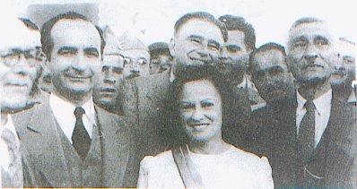 José Figueres Ferrer, Otilio Ulate Blanco, Emma Gamboa y miembros del Tribunal Electoral