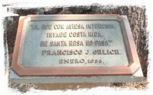 Placa en el Parque Nacional de Santa Rosa
