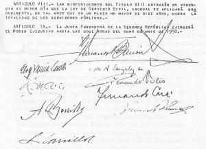 Firmas proyecto de constitución junta de gobierno