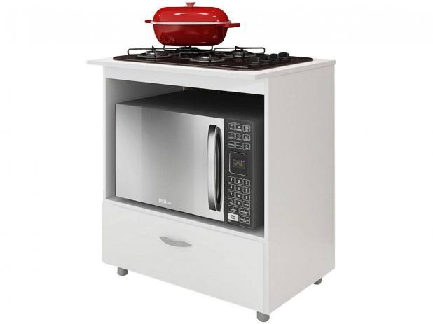Balcão para cooktop e microondas 1 gaveta - completa Móveis