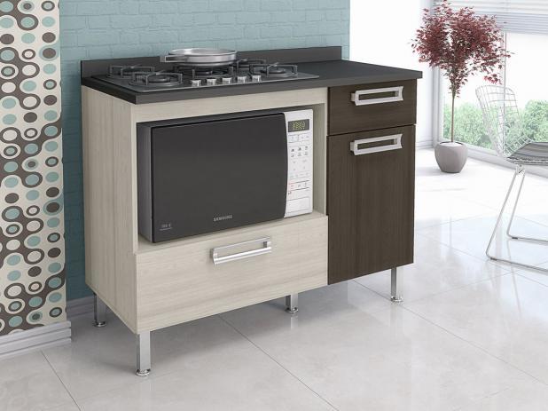 Balcão para cooktop e microondas 2 portas e 1 gaveta - Cbm