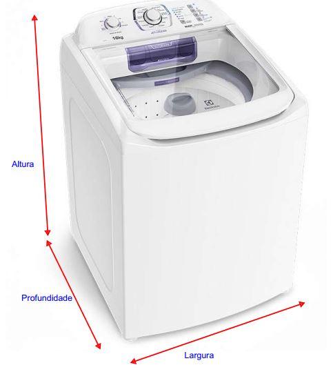 Medidas da lavadora de roupas Consul