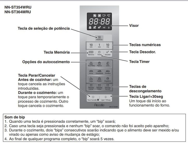 Como ajustar o relógio do Microondas Panasonic 25 litros Branco - NN-ST354WRU