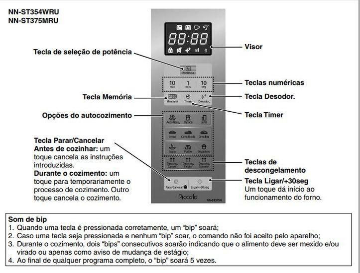 Como ajustar o relógio do Microondas Panasonic 25 litros Prata - NN-ST375MRU