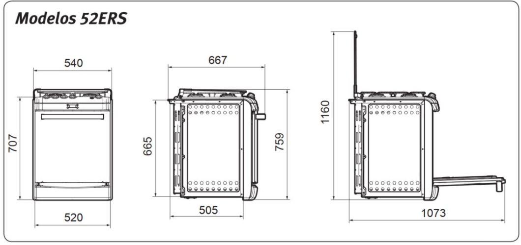 Dimensões do fogão Electrolux de embutir 4 bocas - 52ERS