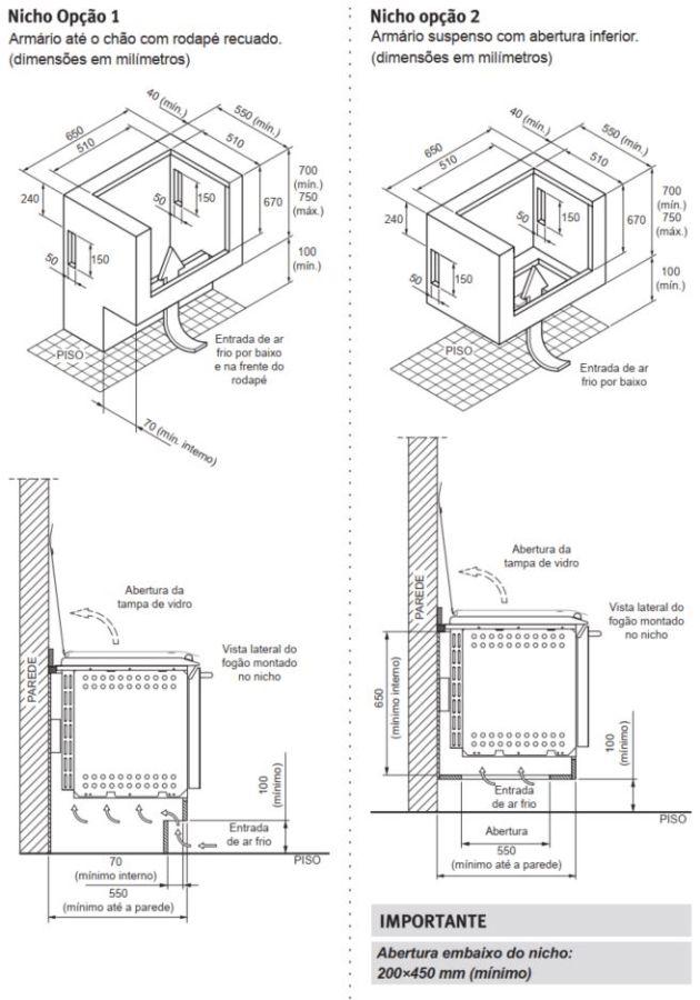 Fogão Electrolux 52ERS - Nicho de instalação - opção 1 e 2