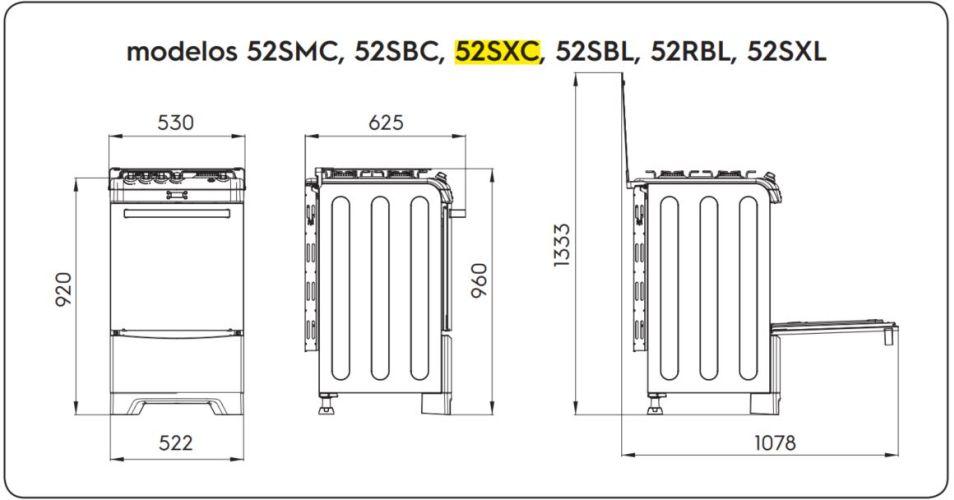 Medidas do fogão Electrolux 4 bocas - 52SXC