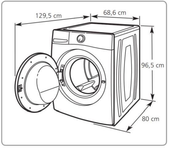 Lavadora de roupas Brastemp - Instalação - espaço ao redor da máquina BNQ14
