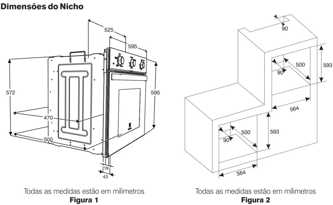 Medidas do Forno Elétrico de Embutir Preto Electrolux 59L