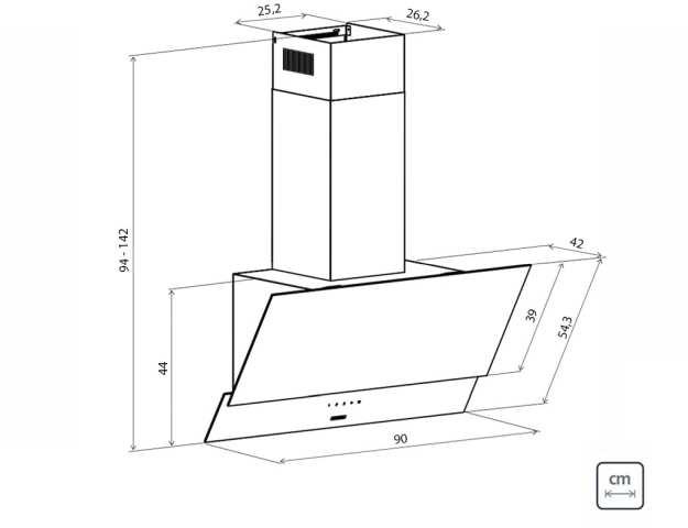 Dimensões do produto - Coifa Tramontina Juliet 90