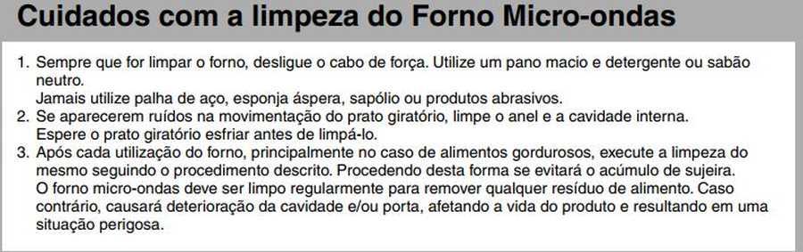Manual de instruções do microondas Panasonic NN-ST375 - Limpeza do forno