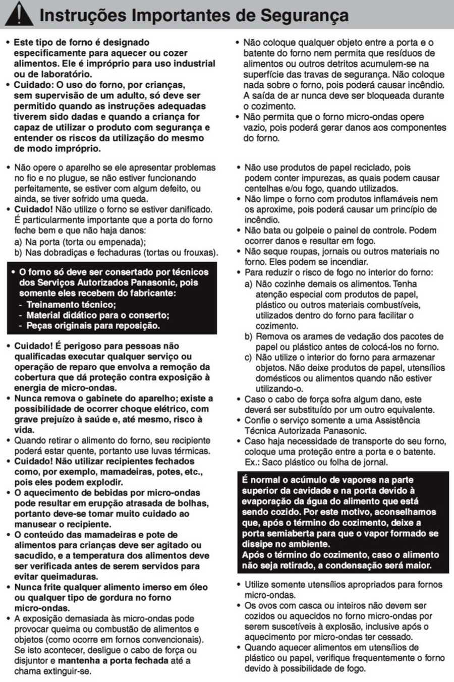 Manual de instruções do microondas Panasonic NN-ST375 - Segurança