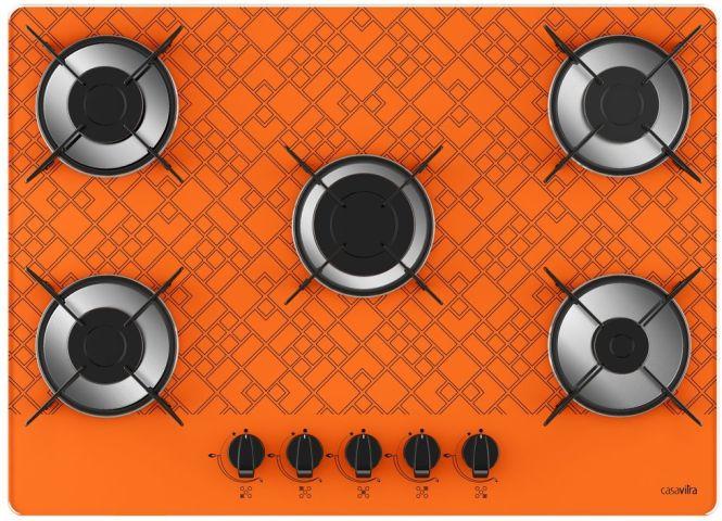 Medidas de Cooktop Casavitra 5 queimadores chama rápida tetris laranja