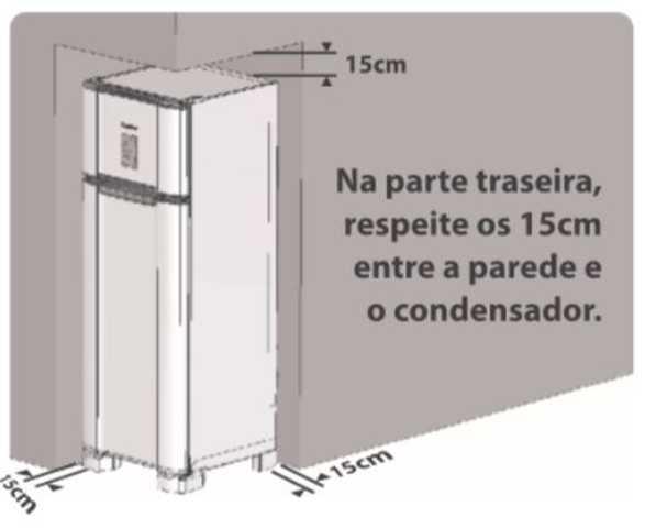 Instalação da geladeira Esmaltec - Distâncias ao redor do produto