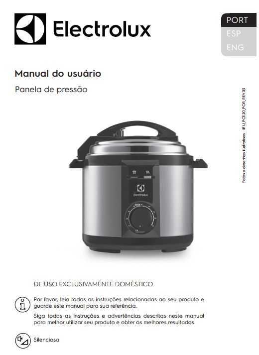 Manual de Instruções da panela de pressão Electrolux