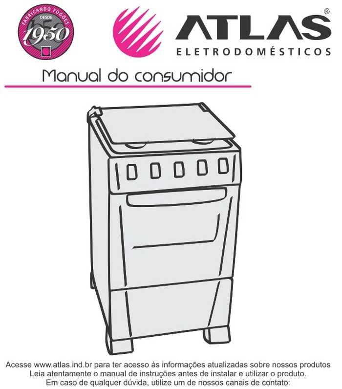 Manual do fogão de piso Atlas Mônaco Branco 5 bocas