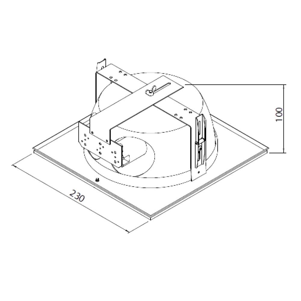 Luminária de embutir quadrada para 1 lâmpada fluorescente