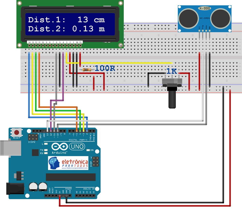 Medindo Distncias Com Sensor Ultrassnico Hc Sr04 E Mostrando A Datasheet Leitura Em Display Lcd 16x2 Arduino Eletrnica Para Todos