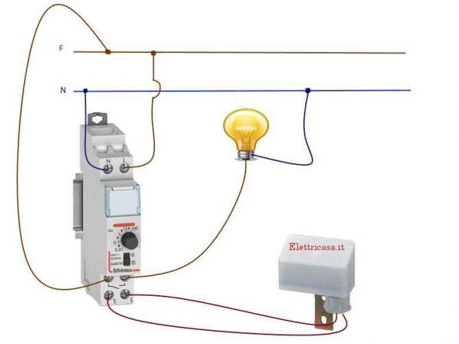 Schema Elettrico Crepuscolare : Interruttore crepuscolare e infrarossi