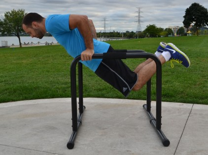 Lean forward for a nice chest exercise during the dip