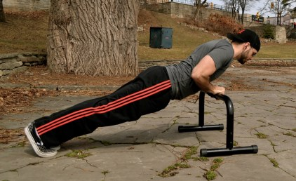 Adding an incline is a great way to warm up for any pushup variation. Here I'm prepping for some one-arm variations.