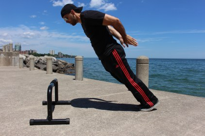 Back clap push-ups w/ incline