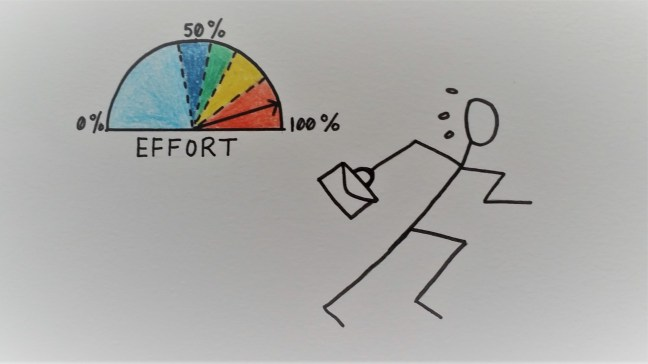 Drawing representing an employee making extreme efforts at work.