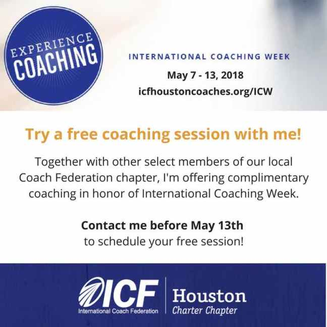 Picture of an ad for international coaching week in Houston.