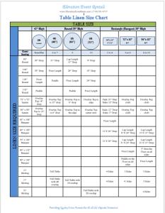 Linen Sizing Chart