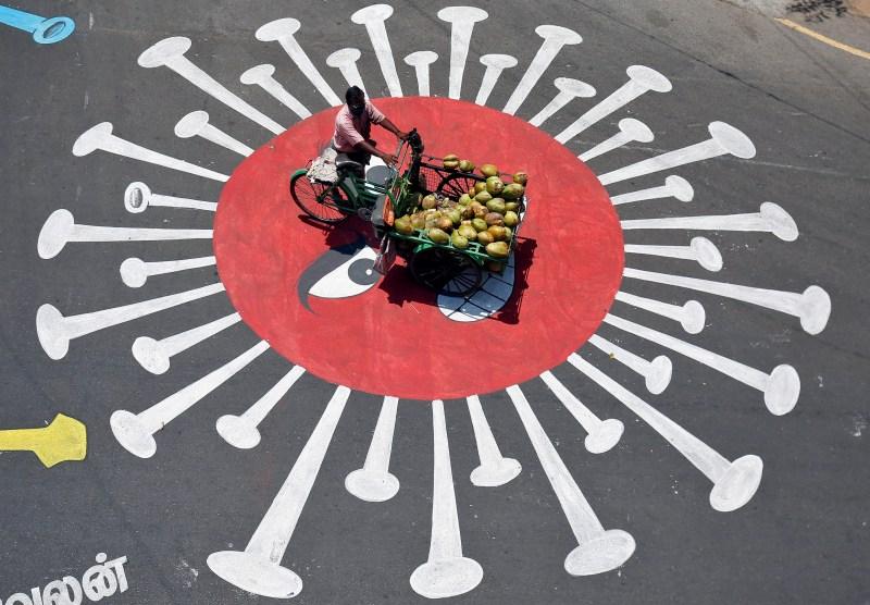 Street art of a coronavirus - Chennai, India
